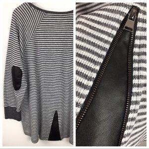 Calvin Klein Striped Thermal Tunic Leather Zipper